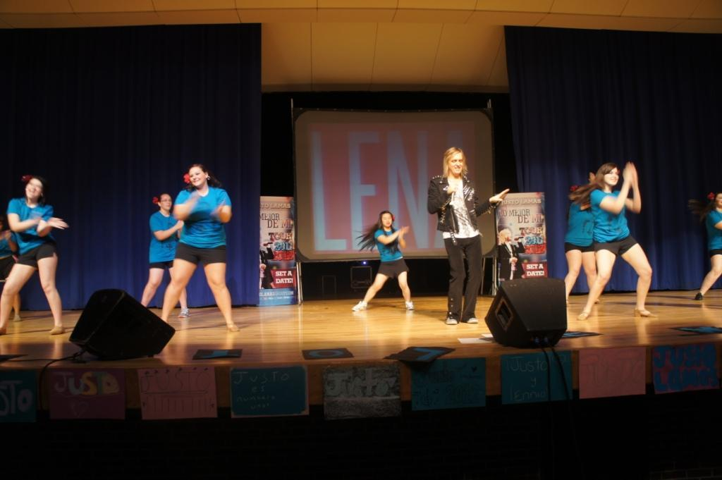 A group of Warren Woods Tower students had the opportunity to dance on stage with Justo to his song