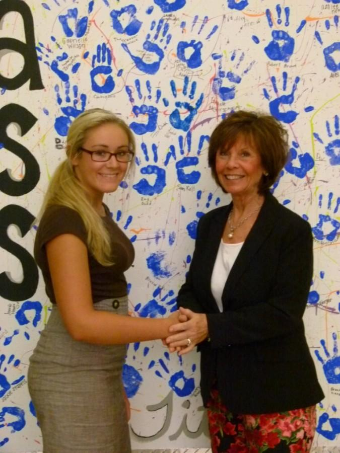 Ms. Winstanley and Chanel Metzler shaking hands after Chanel interviewed her.