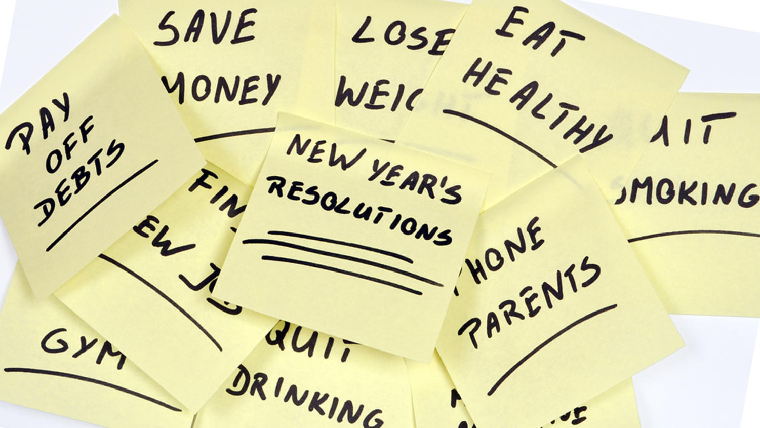 lots of New Year's Resolutions on yellow pieces of paper; Shutterstock ID 90553060; PO: TODay.COM